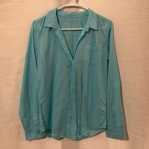 Lilly Pulitzer Small Blouse Button Down Blue 1004